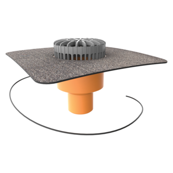 Zvislý vyhrievaný terasový vpust s integrovanou bitúmenovou manžetou