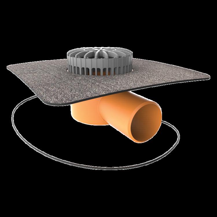 Vorodovný vyhrievaný terasový vpust s integrovanou bitúmenovou manžetou