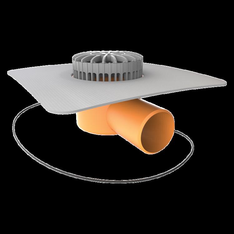 Vorodovný vyhrievaný terasový vpust s integrovanou PVC manžetou
