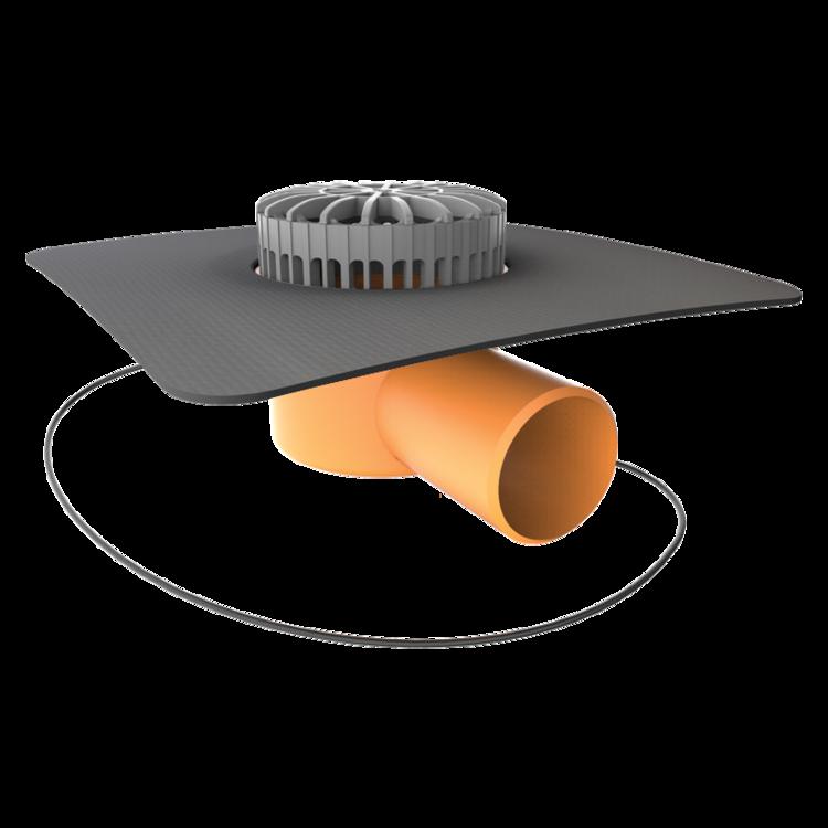 Vorodovný vyhrievaný terasový vpust s integrovanou manžetou na zákazku