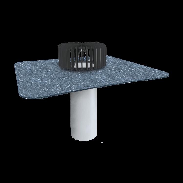 Jednostenný strešný vpust pre nezateplené strechy s integrovanou bitúmenovou manžetou