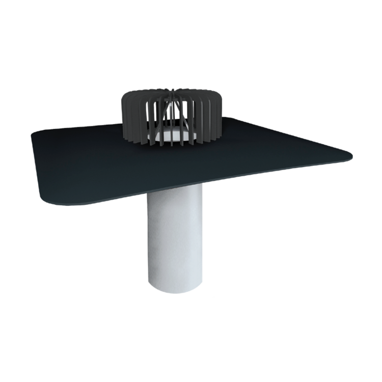 Jednostenný strešný vpust pre nezateplené strechy s integrovanou manžetou na zákazku