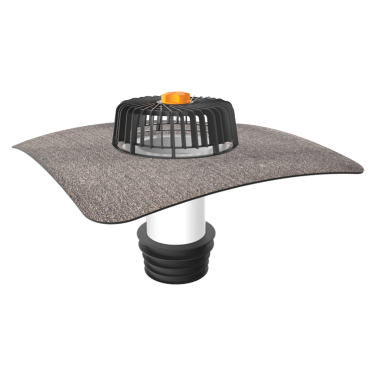 Sanačný vpust pre nezateplené strechy s integrovanou bitúmenovou manžetou