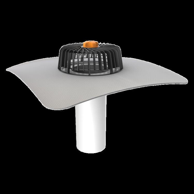 Jednostenný strešný vpust pre nezateplené strechy s integrovanou PVC manžetou